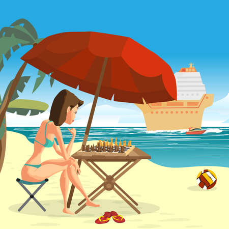 nude outdoors: Young woman in a bikini playing chess with herself sitting on the beach under an umbrella. Illustration