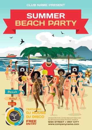 party system: summer party invitation beach style. Day beach, dj with sound system, crowd women in bikinis.