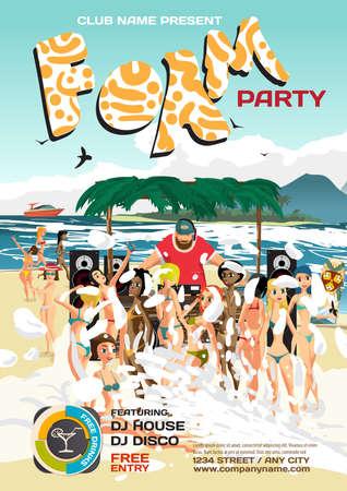 beach party: summer foam party invitation beach style