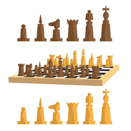 chess set: Modern minimal chess set and chess board with pieces apart. Simple flat vector Illustration.