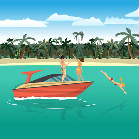 sunbathe: Women in bikini riding on a motorboat around a tropical beach. Girl in a red bathing suit dives into the water. Flat cartoon vector illustration. Boat is near the beach, girls sunbathe, make selfie Illustration