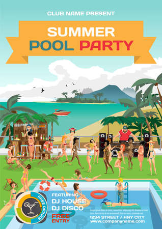 beach party: summer pool party invitation beach style. Illustration