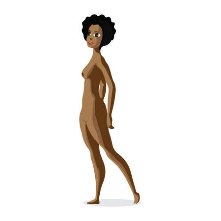 topless women: Slender afro black woman nudist is standing. Isolated flat cartoon illustration. Slim brunette afro woman on the beach naked Illustration