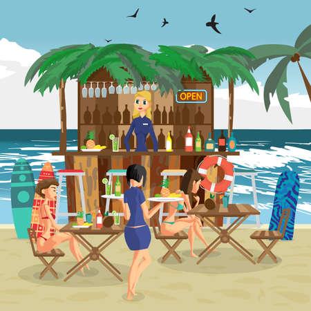beachwear: Bar bungalows with bartender woman, waitress with salvers and two visitor women in a bikini on the beach ocean coast. Vector flat cartoon illustration.