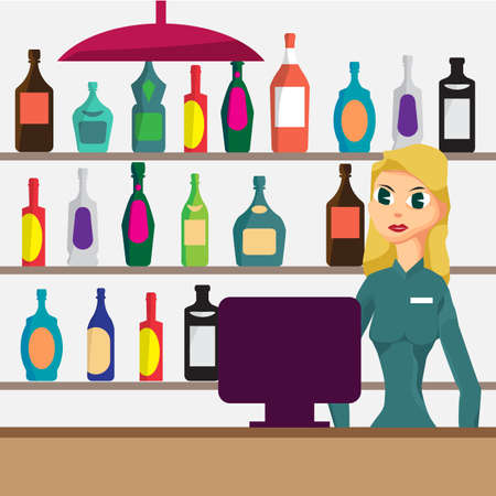 stopper: Woman seller in shop of elite alcohol. Vector flat cartoon  illustration. Alcohol assortment of containers.