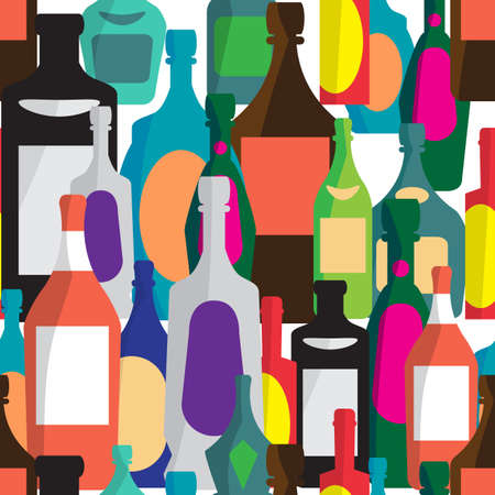 alcoholic: Seamless vector pattern with flat bottles of alcoholic beverages