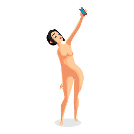 topless women: Brunette woman nudist is standing and makes selfie. Isolated flat cartoon illustration. Slim girl on the beach naked with smartphone.