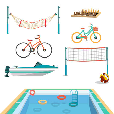 motor boat: Set of summer sport beach objects. Swimming pool, motor boat, volleyball net, hammock, bicycles, chess