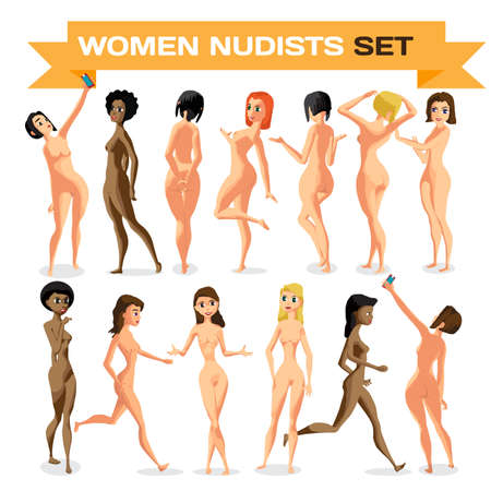 nude young: Set woman nudist is standing. Isolated flat cartoon illustration. The comic girls on the beach naked Illustration
