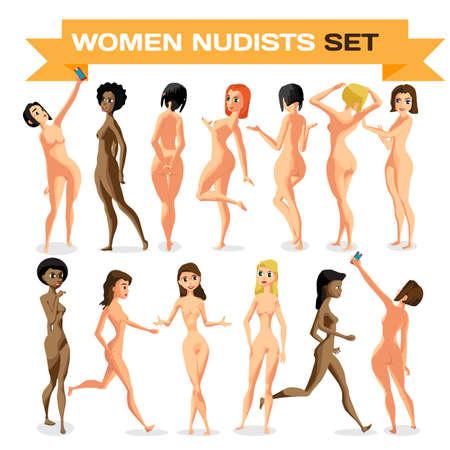 Impostare donna nudisti è in piedi. Isolata fumetto illustrazione piatta. Le ragazze di fumetti sulla spiaggia nuda
