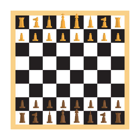 chess set: Modern minimal chess set and chessboard with pieces apart. Simple flat vector Illustration.