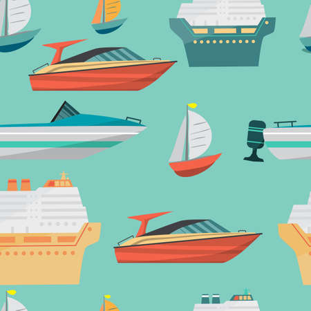 motor boat: Seamless vector pattern with motor boat and ships cruise liner. Sea or river ship, flat cartoon background