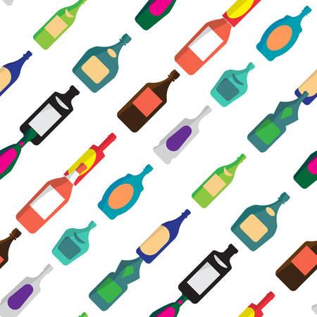 bebidas alcoh�licas: Modelo incons�til del vector con las botellas planas de bebidas alcoh�licas