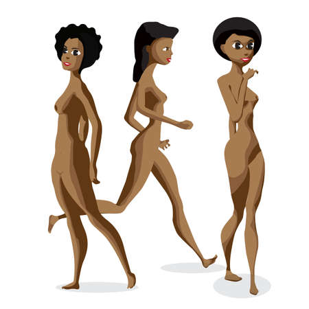 topless women: Set three afro black women nudist is standing. Isolated flat cartoon illustration. The comic girls on the beach naked Illustration