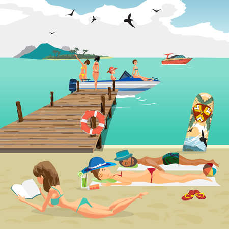 motor boat: Sea landscape summer beach. Man and woman sunbathing lying on the sand, the girls sit in a motor boat from the pier. Vector flat cartoon illustration.