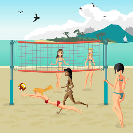 beach ball girl: Four girls playing volleyball on the beach. Beach volleyball, net, women in bikinis. Flat cartoon vector illustration. Girl in a red bathing suit jumping for the ball
