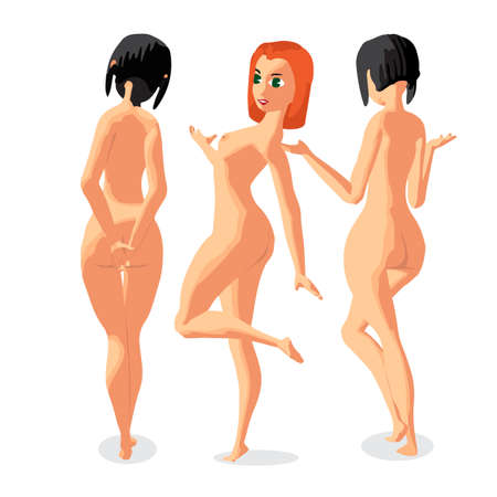 topless women: Set three women nudist is standing sunbath. Back view. Isolated flat cartoon illustration. The comic girls on the beach naked