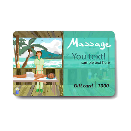 masseuse: Man pampering herself by enjoying day spa massage on the beach. Sale discount gift card. Branding design for massage salon