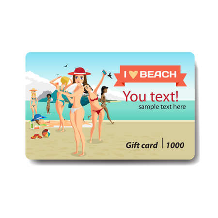 group travel: Group of women bathing and sunning on the beach. Sale discount gift card. Branding design for travel agency Illustration