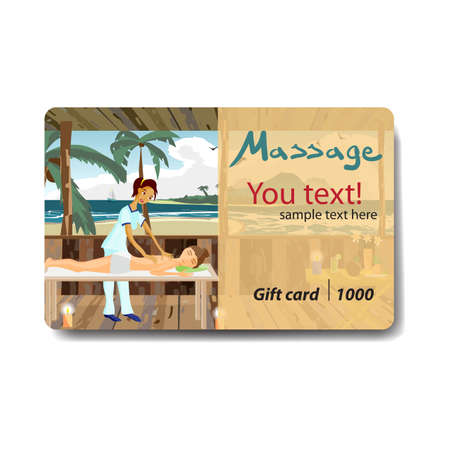 Woman pampering herself by enjoying day spa massage on the beach. Sale discount gift card. Branding design for massage salon Ilustracja