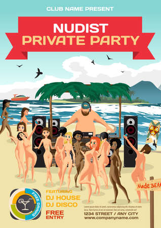 topless women: Vector summer party invitation beach nudist style. Day, dj bare, woman nude. Posters or flyers. Template flat cartoon illustration.