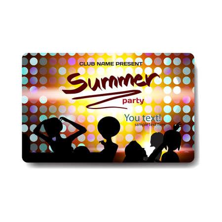 siluette: Vector summer party flyer disco style. Night beach, dj, women, template posters, invitation.