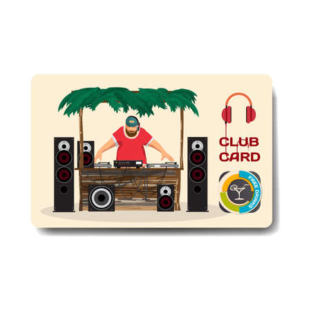 sound system: Vector summer party flyer disco style. Day beach, dj with sound system, template posters, invitation.