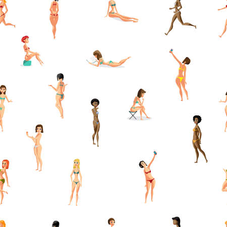 beachwear: Seamless textile pattern with vector modern flat design woman dressed in swimsuit