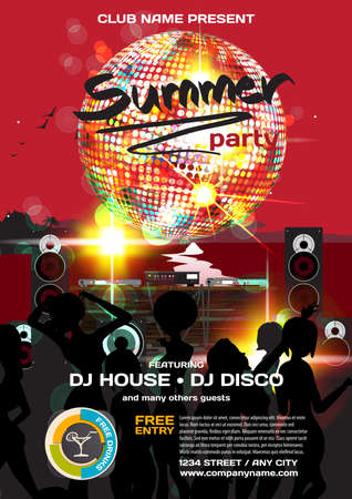 Vector summer party invitation disco style. Night beach, dj, women, disco ball template  posters or flyers.
