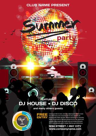Vector zomer uitnodiging van de disco stijl. S nachts het strand, dj, vrouwen, disco bal template posters en flyers.