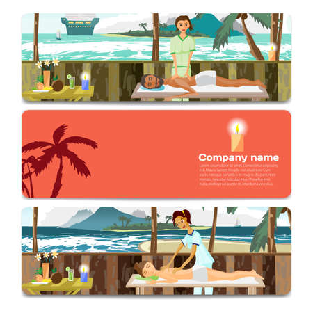 masseur: Woman and man pampering herself by enjoying day spa massage on the beach. Sale discount gift card. Branding design for massage salon