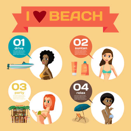 sunbathe: Vector Infographic set flat design about women on the beach. How do they spend their time on coast. Character girls, sunbathe, swim, leisure, favorite