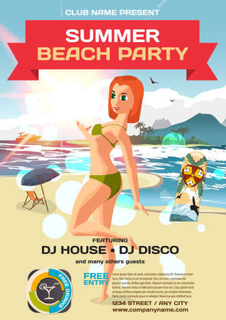 masseuse: Vector summer party invitation beach style. Day, woman in bikini. Posters or flyers. Template flat cartoon illustration.