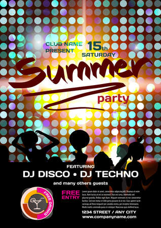 Vector summer party invitation disco style. Night beach, dj, women, template  posters or flyers.