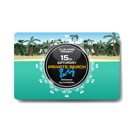 hapiness: Vector summer party flyer. Landscape tropical beach. Posters, invitations, templates. Illustration