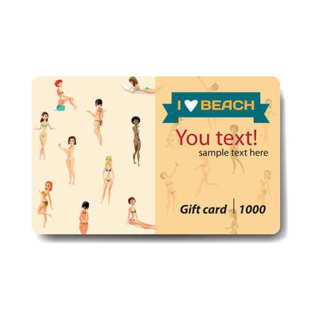 beachwear: Women dressed in swimsuit. Sale discount gift card. Branding design for swimwear and lingerie shop Illustration