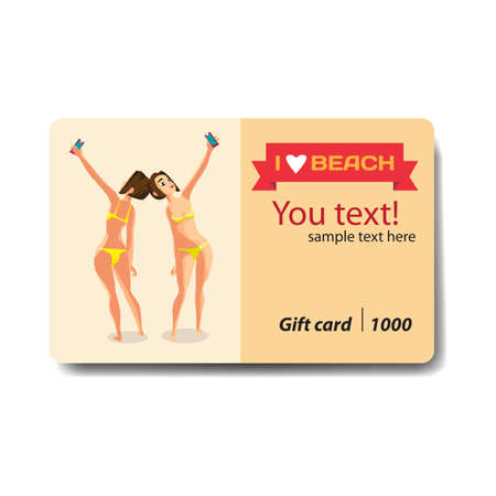 woman standing back: Brunette woman dressed in yellow swimsuit is standing and makes selfie. Back, front  view. Sale discount gift card. Branding design for smartphones and accessories shop