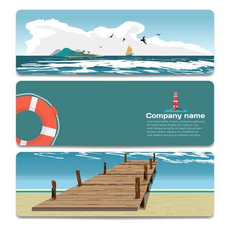 playa de verano paisaje de mar, viejo muelle de madera, isla, faro, salvavidas. Venta de descuento tarjeta de regalo. diseño de la marca de la agencia de viajes