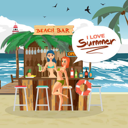 bartender: Bar bungalows with bartender and visitor woman on the beach ocean coast. Vector flat cartoon illustration. Summer vacation in a tropical landscape Illustration