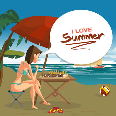cruise liner: Young woman in a bikini playing chess with herself sitting on the beach under an umbrella. Vector flat cartoon illustration. Sea landscape summer with cruise liner