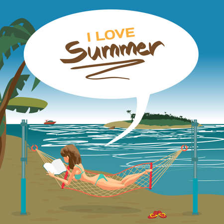 stretched: Woman dressed in green swimsuit lying in a hammock, stretched on the beach and reading a book. Vector flat cartoon illustration. The comic tall brunette on the beach in green bikini