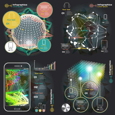 set infographics with sound waves on a dark background