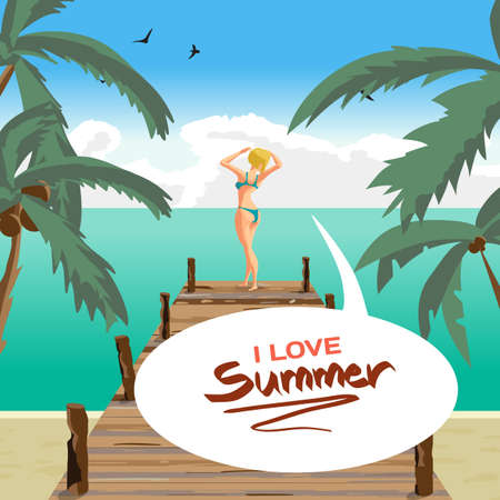 sunbathe: Sea landscape summer beach, old wooden pier. Blonde woman dressed in green swimsuit is standing sunbathe on the sun raising his hands. Vector cartoon flat illustration