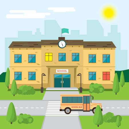 Welcome back to school. Building in park on the background of the city. Flat cartoon style illustration Vektorové ilustrace