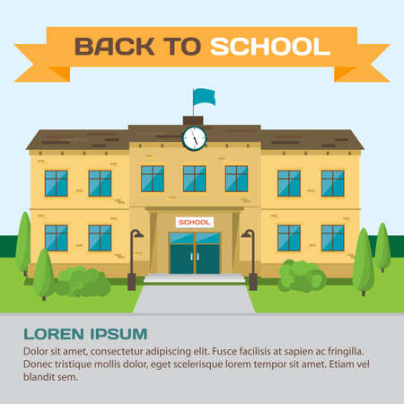 Welcome back to school. Building in park on the background of the city. Flat cartoon style background for poster, card, banner Illustration