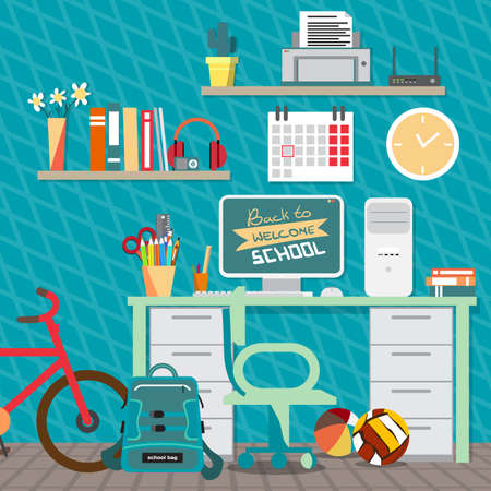 child room: Back to school concept. Teenagers workspace with desk, computer, bycicle, books, backpack etc. Child room interior. Vector flat cartoon illustration