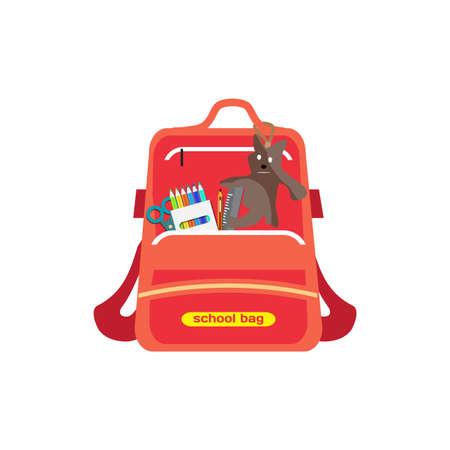 Red bag school backpack isolated for girl on white background. Flat cartoon modern vector illustration Illustration