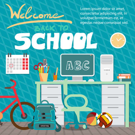 child room: Back to school concept. Teenagers workspace with desk, computer, bycicle, books, backpack etc. Child room interior. Flat cartoon style vector background for poster, card, banner Illustration