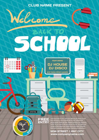 alumnus: Vector school party invitation disco style. Meeting of graduates, high school students. Teenagers workspace with desk, computer, bycicle etc.