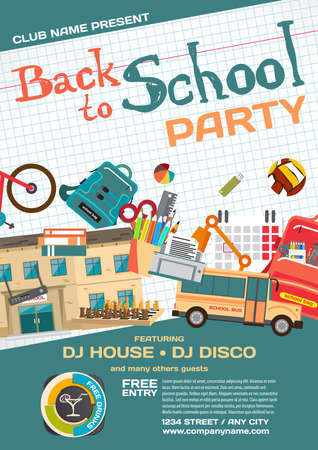 school meeting: Vector school party invitation disco style. Meeting of graduates, high school students. School items, bus, house, stationery Illustration